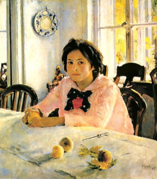 少女和桃(谢洛夫,1887)