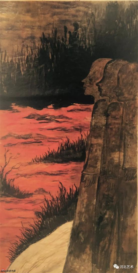 《乘桴于海的虚无》 136x68cm 纸本水墨 2017