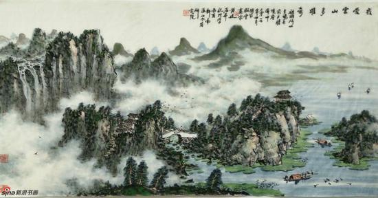 《我爱云山多雄奇》 69cmX136cm,2017年,黄廷海作