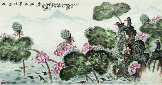 《荷塘硕果满池香》 69cmX136cm,2017年,黄廷海作