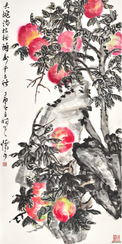 《天桃满枝桠 颐春千百秋》137×69cm 2017年