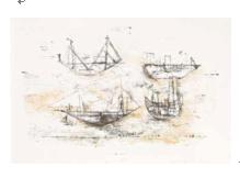 赵无极 ( 1921 - 2013 ) 航船 纸本 石版画E.A 50×65 cm ( 1953 )