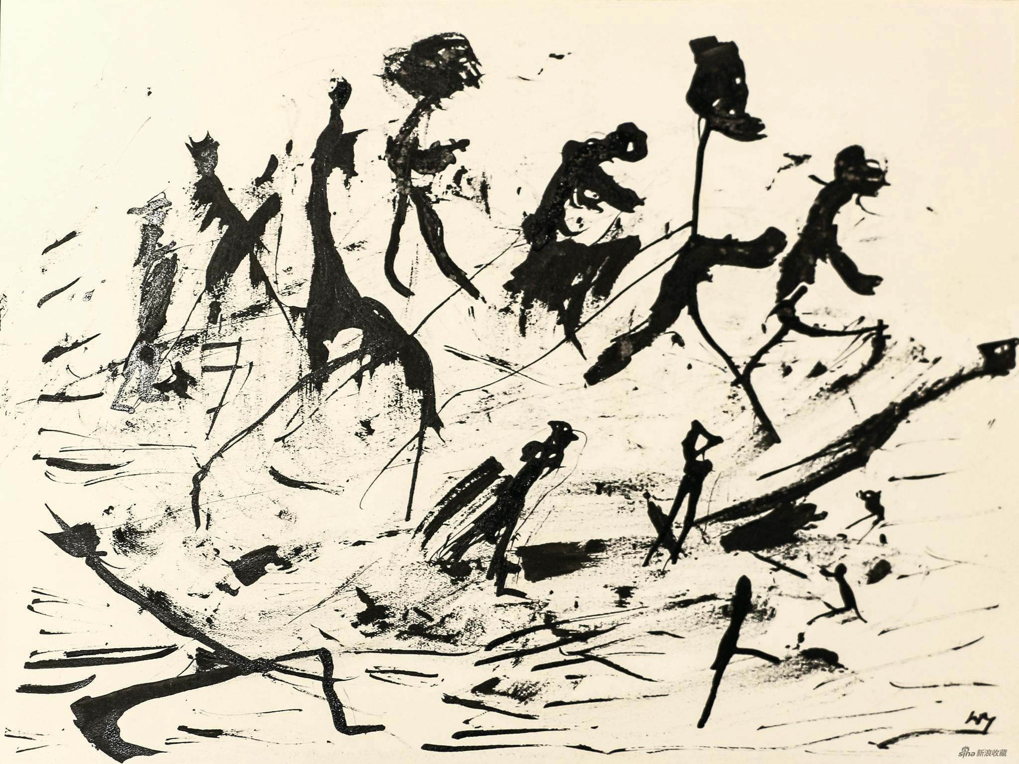 """亨利·米修 Henri Michaux 《无题》 Untitled(""""People on paysage""""serie) 纸本水墨 Ink on paper,24 × 32 cm,1950 - 52 ©艺术家和德玉堂画廊"""