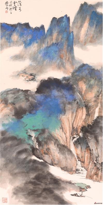 《溪谷云烟》137×68cm 2018年