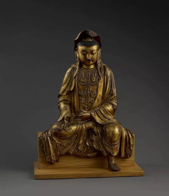 《自在观音》 夹纻漆金 67cm 明代 释迦摩尼说法图与四大菩萨
