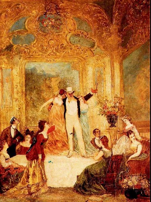 """法国早期印象派画家阿道夫·约瑟夫·托马斯·蒙蒂塞利(Adolphe Joseph Thomas Monticelli)绘画的油画作品《Une Soiree Chez LaPa?va》,它描绘了一场在巴黎LaPa?va酒店里举办的奢华酒会。这个酒店的创建者,就是""""杜能斯马克钻石""""的拥有者。拉佩瓦(LaPa?va)"""