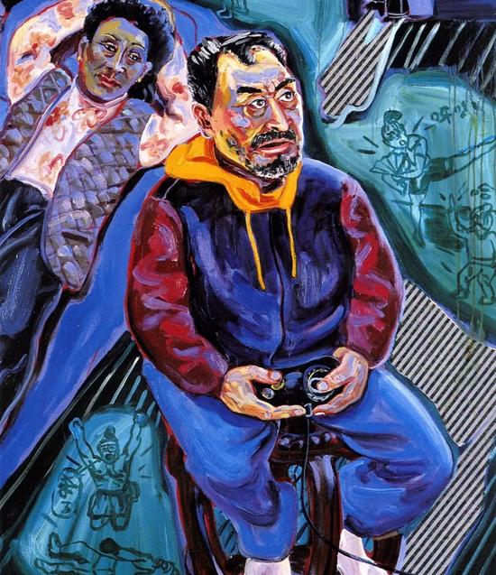 打游戏 120x80cm 布面油画 1996年