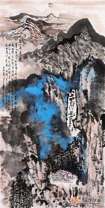 张若古·《高山飞瀑图》 (137*70cm)[作品来源:易从网]