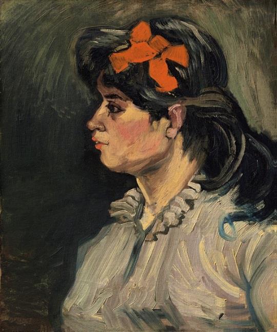 文森特・梵高 (Vincent Willem van Gogh)《束红发带的女孩:左侧面半身像》