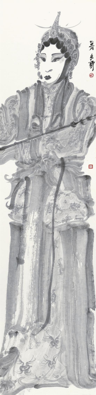 周京新 角色-6 137×34cm 纸本水墨 2018