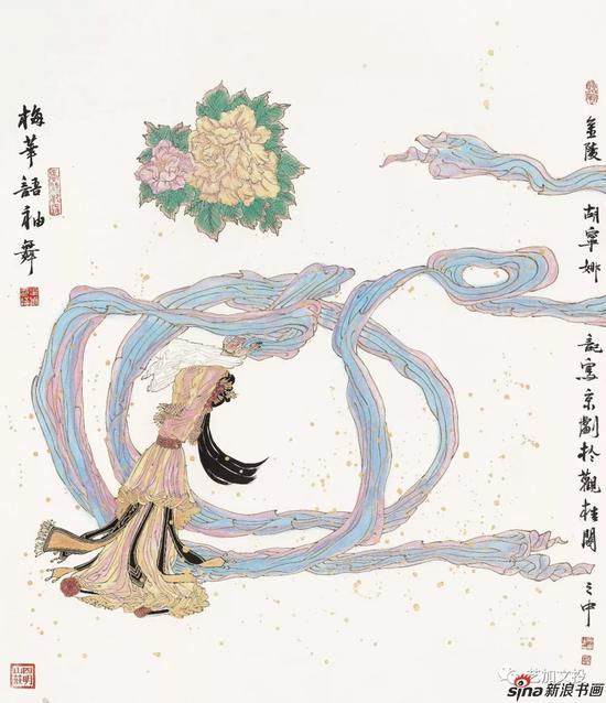 胡宁娜《梅华语袖舞系列之一》108cm×95cm 2018年