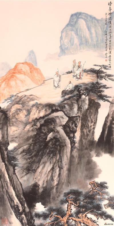 《商山四皓图》137×68cm 2017年