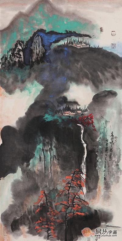 张若古山水画作品《高山飞瀑图》 (139*70cm)[作品来源:易从网]