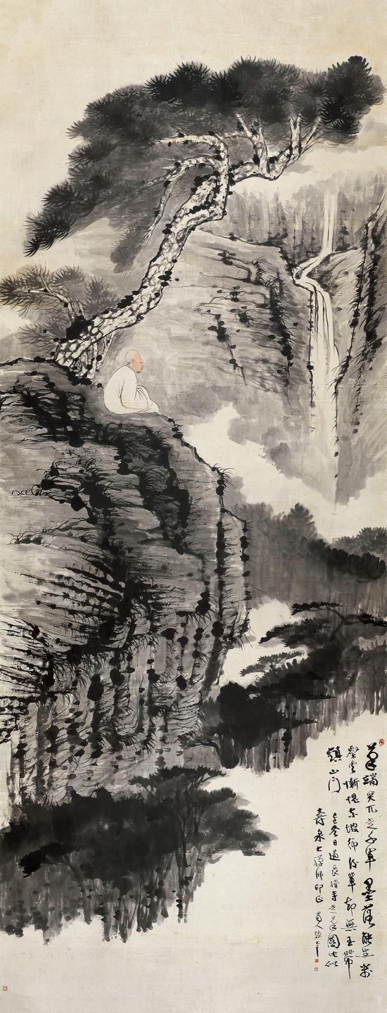 张大千 松下观瀑   镜片 设色纸本   1929年作   361×140.5 cm