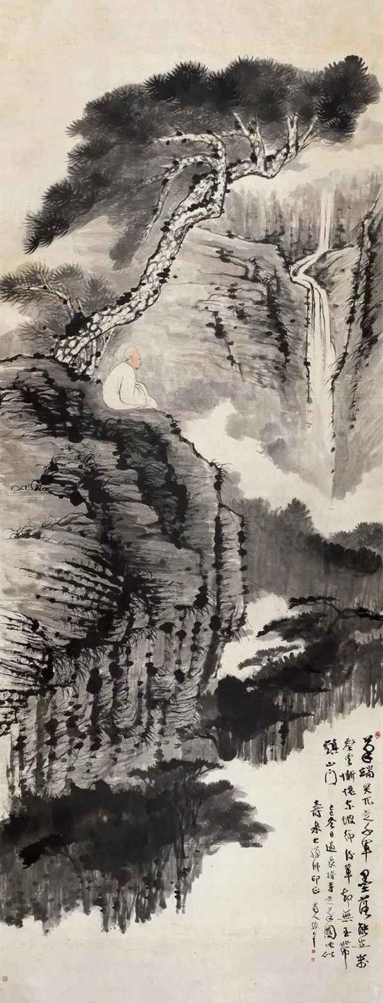 张大千 松下观瀑图  镜片 设色纸本 1929年作  361×140.5 cm  成交价:RMB 13,800,000