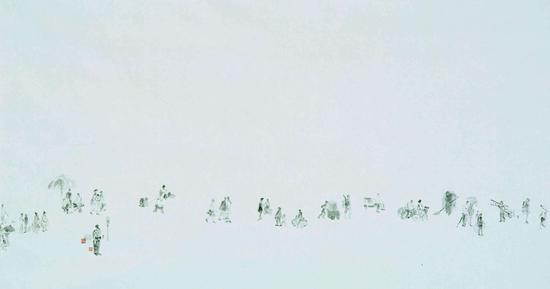 李周卫 《光年》 纸本水墨 98X180cm 2010年