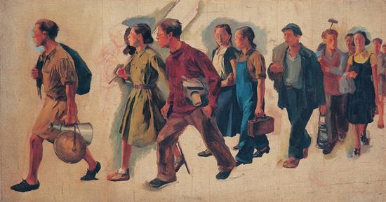 14。唐一禾《七七的号角》布面油彩 33.2cm×61.2cm 1940年 中国美术馆藏