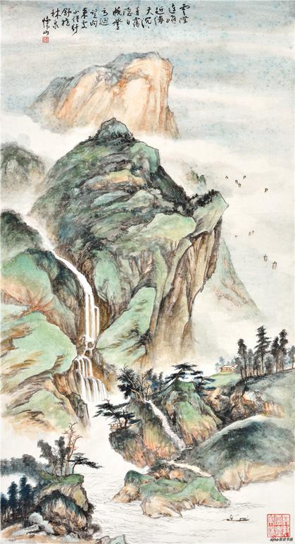 《云际连峰近海天》137×69cm 2016年