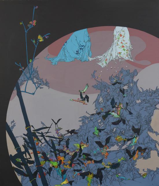《法海时时有,化蝶处处在》布面丙烯150×130cm亢世新