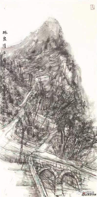 韩敬伟 林泉清幽图 136cm×68cm