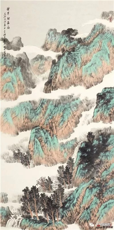 李明 碧峰烟岚图 136cm×68cm