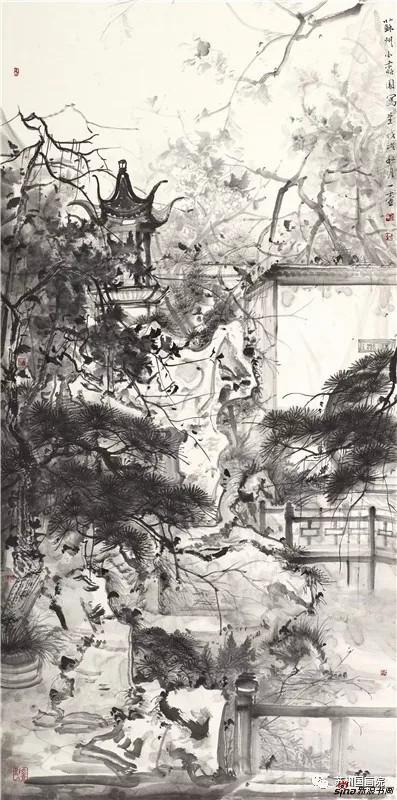 方向军 苏州园林写生 136cm×68cm