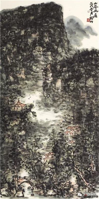 岳黔山 山谷幽居 136cm×68cm