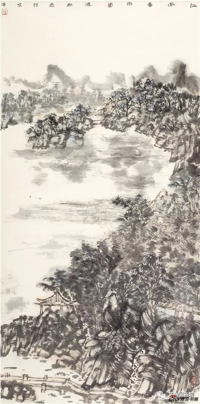 陈风新 江南春雨图 136cm×68cm