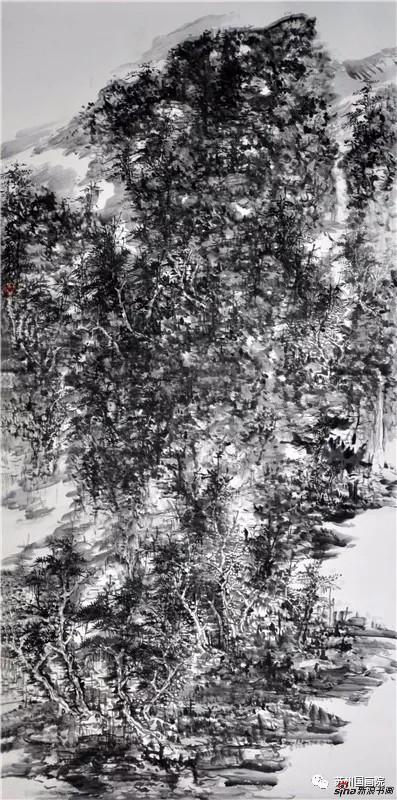 李伟 双泉图 136cmx68cm