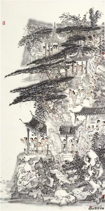 李文绚 游园图 136cm×68cm