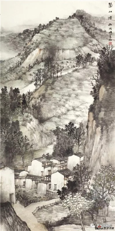 王金石 茶山烟雨 136cm×68cm
