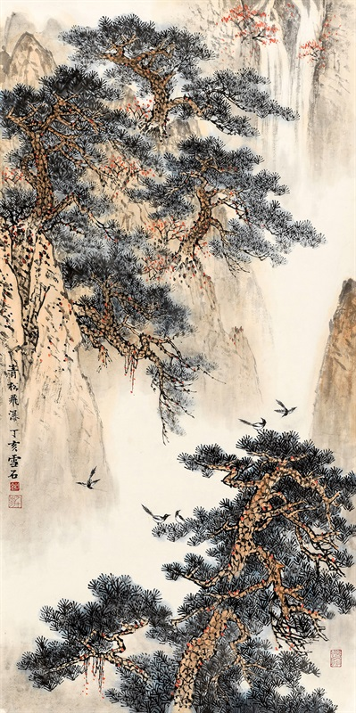 白雪石 青松飞瀑 138×69 cm