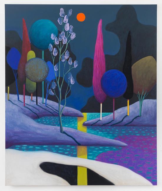 《日落02》,2018,布面色粉,180 × 150.2 × 2.5 cm,由艺术家、Galerie Gregor Staiger画廊(苏黎世)及The Modern Institute/Toby Webster Ltd(格拉斯哥)惠允