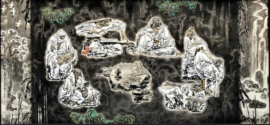 《魏晋文人之竹林之游》(布本、水墨、丙烯,2013-2014年)