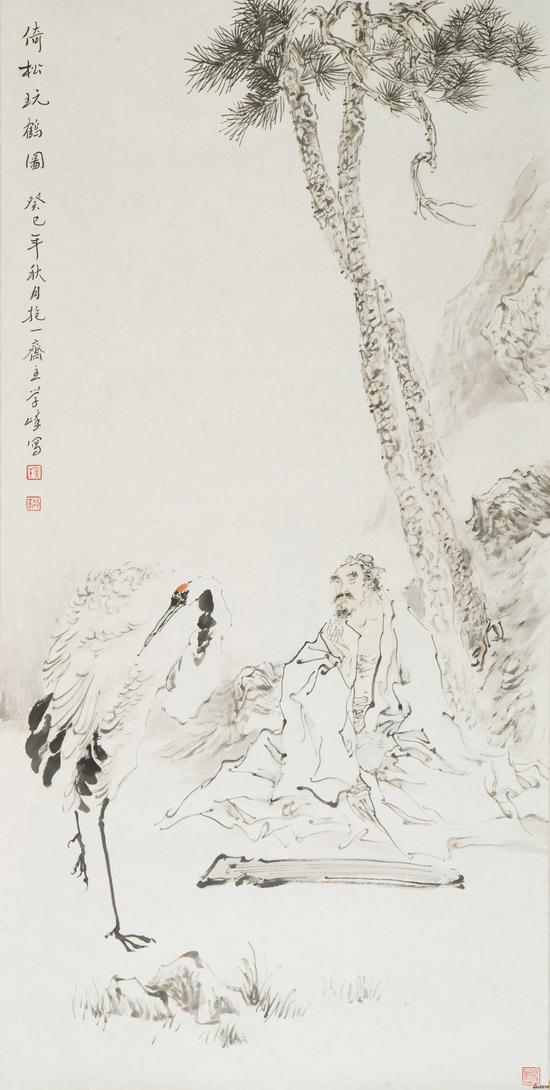吴学峰作品《倚松玩鹤图》137X68cm 2013年