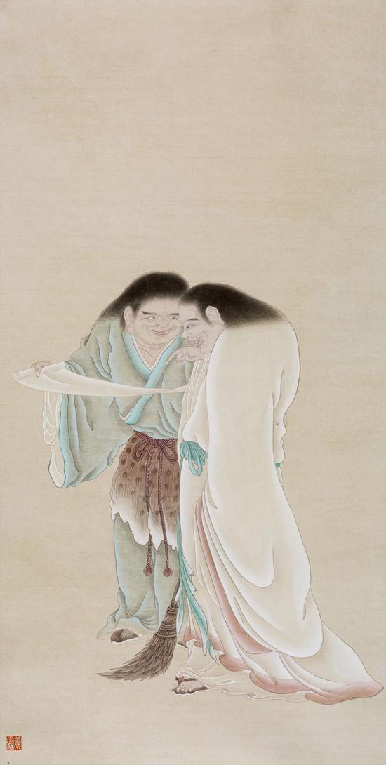 姜雪雁 寒山拾得图 纸本设色 130 x 66 cm 2018
