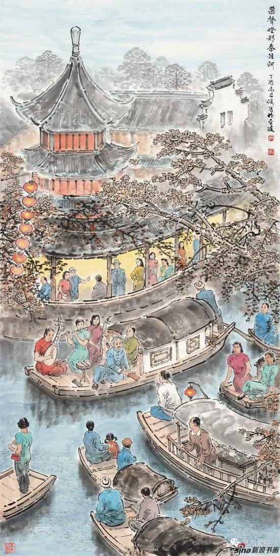 尚君砺《桨声灯影秦淮河》138cm×69cm 2017年