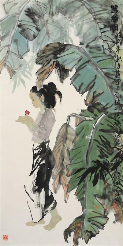 梁长林 春意图135cm×68cm 1982年