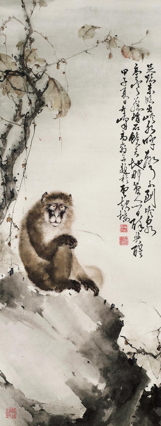 高奇峰 清猿图   立轴 设色纸本   1924年作   137×52 cm
