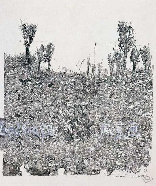 刘炜 《风景2005之九》 纸本综合材料 2005年 80x68cm。