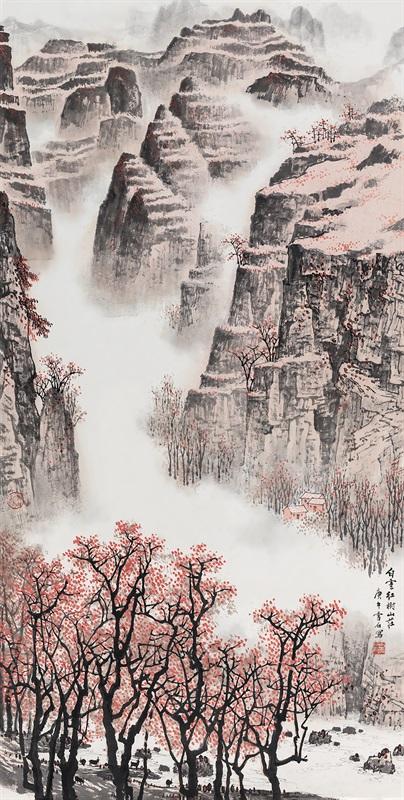 白雪石 白云红树山庄 136×68 cm