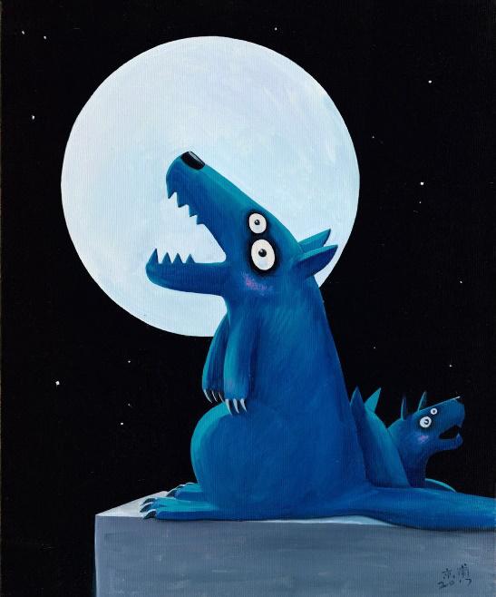 许京甫布面油画《月圆之夜》