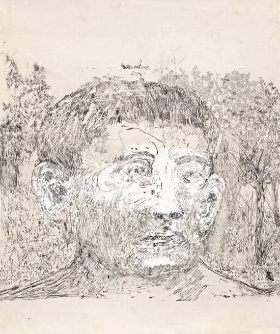 Lot.668 刘炜 《肖像之一》 2005年 纸本综合材料 68x56.5cm。