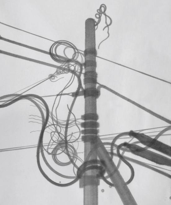 伊瑞 《电线杆#2》 180x213cm 宣纸水墨 2016年
