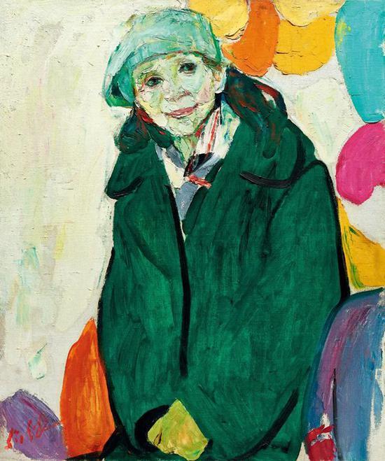 Lot.659 罗尔纯 《绿衣女子》 1987年   布面油画 72.6X60.7cm。