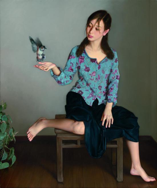 《飞鸟_120x100cm2005,布面油画