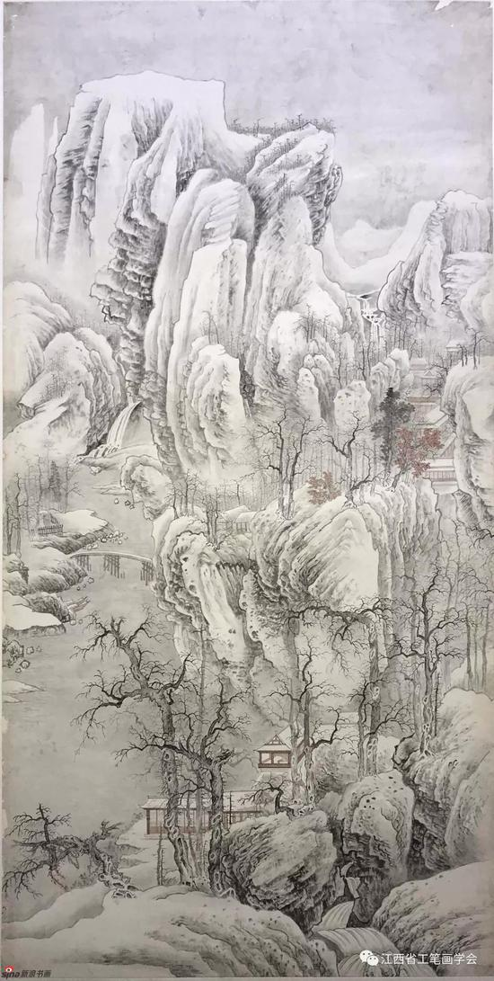 1974年临摹黄秋园仿宋人江山雪霁图