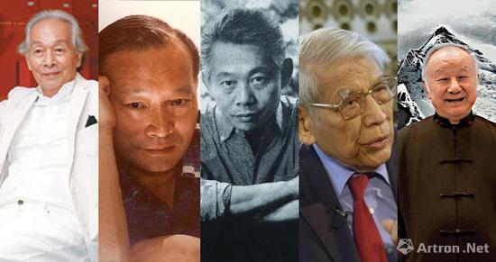 华人抽象的代表艺术家,左起:林寿宇、丁雄泉、赵无极、朱德群、刘国松