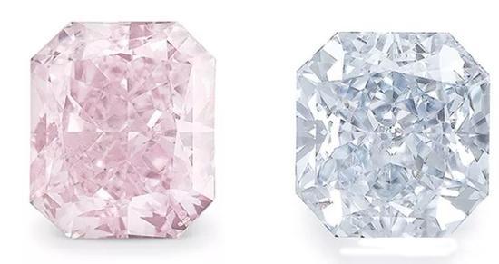 粉色钻石和蓝色钻石   往往颜色偏淡,蓝色钻石具灰调