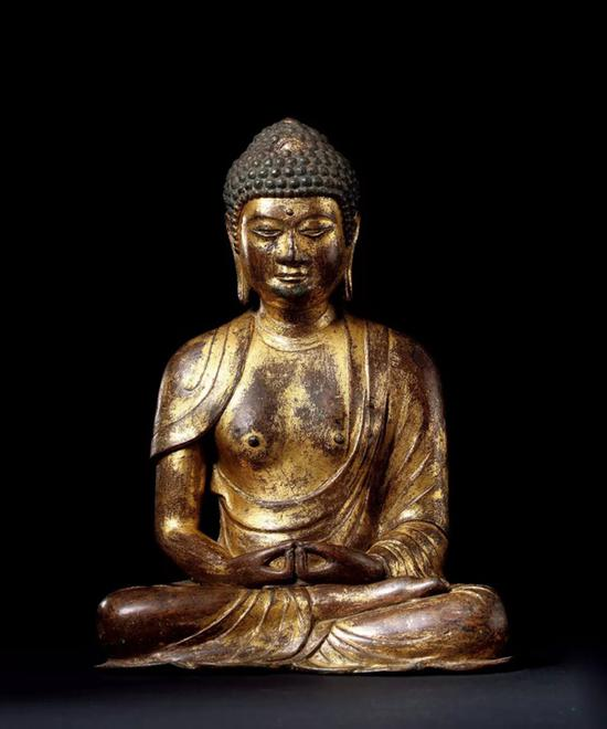 十一世纪 大理国   铜鎏金阿弥陀佛坐像   H:25cm